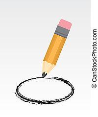 Pencil Circle - Large pencil drawing a circle