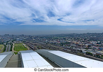 Above view to Durban city from Moses Mabhida stadium, South...