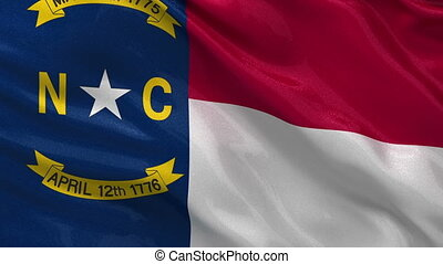 US state flag of North Carolina gently waving in the wind....