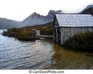 Dove lake boat shed Tasmania - Alpine Serenity