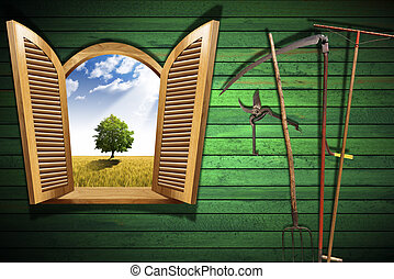 Agriculture Concept with Open Window - Wooden window with...