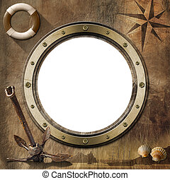 Adventurous Journeys Background - Brown empty porthole with...