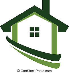 Green house real estate image logo