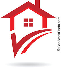 House icon logo - house with check mark