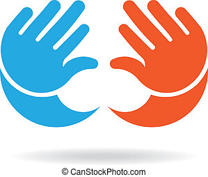 Baby hands girl and boy image logo