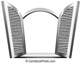 Gray Open Window - Gray and white wooden window (round arch)...