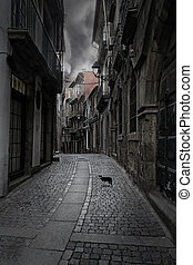 Bummer - Surreal cityscape. Empty old street from Porto,...