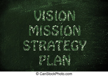vision, mission, strategy, plan writing, glowing gearwheels to symbolize a brilliant mechanism