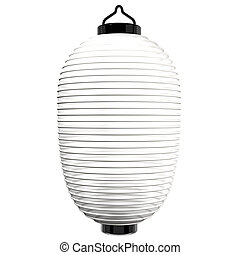 White Paper Lantern 3D render illustration Isolated on White...