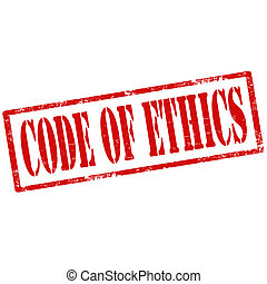 Code Of Ethics-stamp - Grunge rubber stamp with text Code Of...