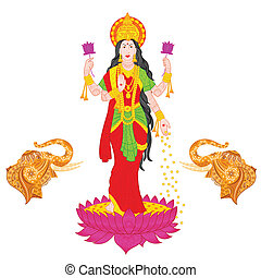 Goddess Lakshmi - easy to edit vector illustration of...