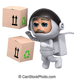 3d Astronaut delivers boxes in space - 3d render of an...
