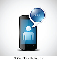 Smartphone with chat icon