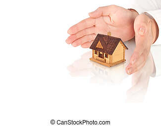 Hands and house model.