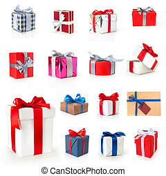 color gift boxes collection with ribbons and bow isolated on...