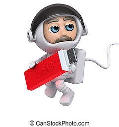 3d Astronaut USB - 3d render of an astronaut holding a USB...