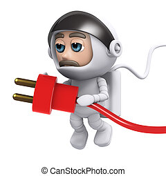 3d Astronaut power - 3d render of an astronaut holding a...