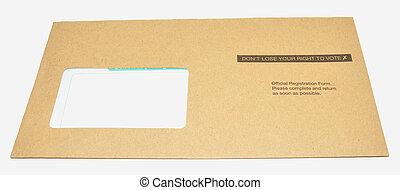 Voter Registration Letter - A voter registration form...