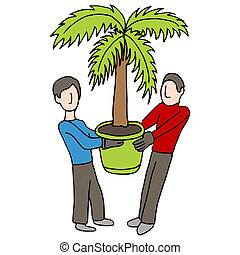 Carrying Potted Palm - An image of two men carrying a potted...