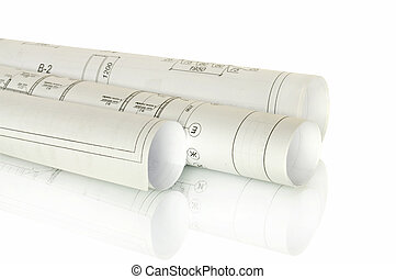 Scrolls of engineering drawings Isolated render on a white...