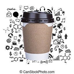 Paper cup of coffee with drawing graph Isolated white...