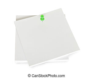 white pages and pushpin isolated in white