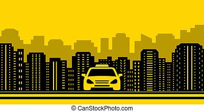taxi, ciudad, Plano de fondo, Ajardinar