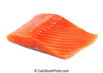 Salmon Fillet Isolated on White Background - A piece of...