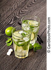 Summer cold cocktail drink mojito