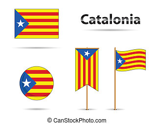 set of catalonia flags