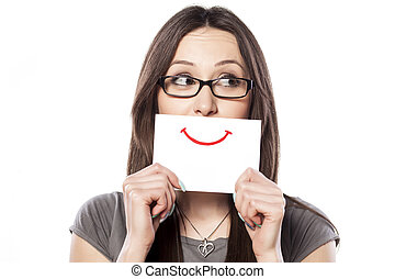paper smile - happy and smiling girl with a smile painted on...