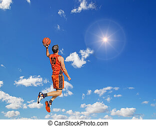 dunking in the sun - basketball player dunking in the sun