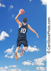 left hand dunk among the clouds - left hand dunk in the sky...
