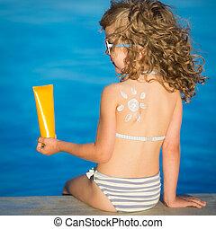 sol,  sunscreen, desenho, loção