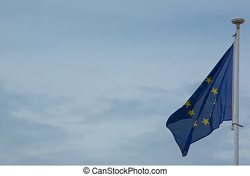 European Union Flag - European Union flag fluttering in a...