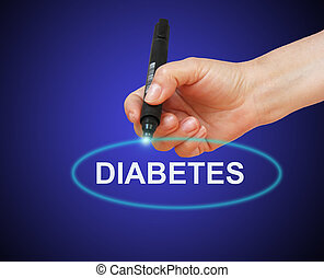 Diabetes - writing word Diabetes with marker on gradient...