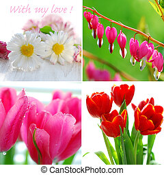 love collage with flowers - beautiful valentine`s collage...
