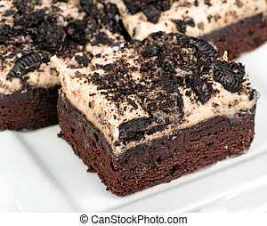 Cookies and cream brownies with topping made from Oreo...