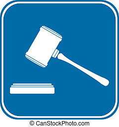 Judge gavel icon on white background