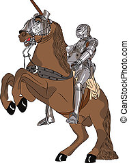 vector medieval knight in armor on horseback - vector...
