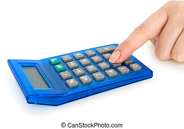 calculator in hands isolated on white