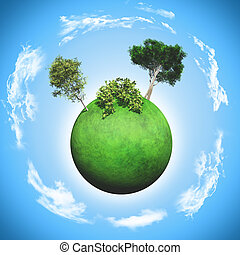 3D grassy globe with trees and bushes - 3D render of a...