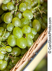 Close up of grape in the braided basket