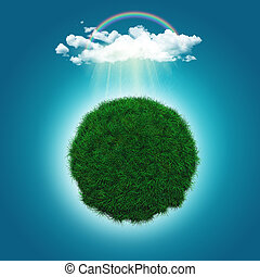 3D render of a grassy globe with a rainbow and raincloud -...
