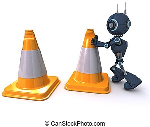 Android with caution cones