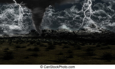 Twister in grassy landscape - 3D landscape with stormy sky,...