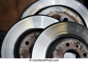 Worn out brake disks - A Pile of worn out brake disks