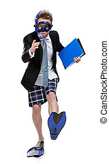 Businessman in fins and goggles keeps folder