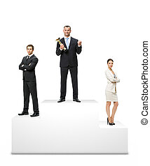 Business people on the podium - Businessman standing on the...
