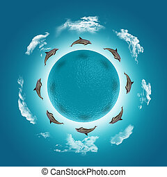 3D render of a water globe with jumping dolphins and clouds...